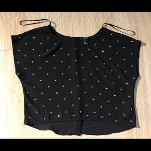 Forever 21 Black blouse with metallic diamonds